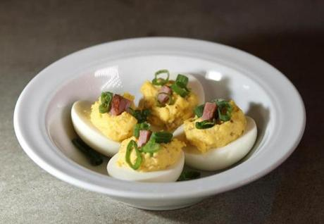 Boston, MA - 03/30/12 - Pickled deviled eggs. Dining Out feature on JM Curley in Downtown Crossing. - (Globe Staff Photo / Barry Chin) section: Food/Lifestyle, reporter: First, slug: 04diningpic, LOID: 5.0.1013733338